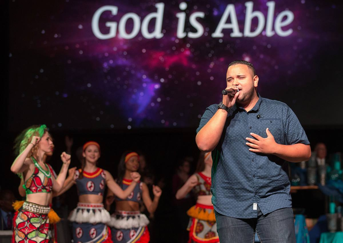 Jeremy Rosado sings Able during a celebration of The United Methodist Church's Imagine No Malaria campaign May 18 at the 2016 United Methodist General Conference in Portland, Ore. Photo by Mike DuBose, UMNS