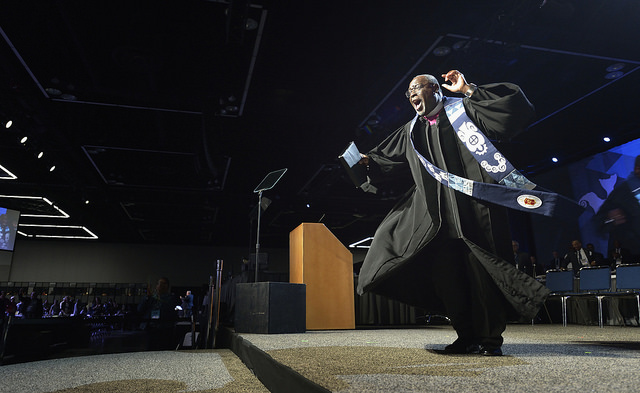 Bishop James Swanson, Jr., preaches on May 18 at the 2016 United Methodist General Conference in Portland, Ore. Photo by Paul Jeffrey, UMNS.