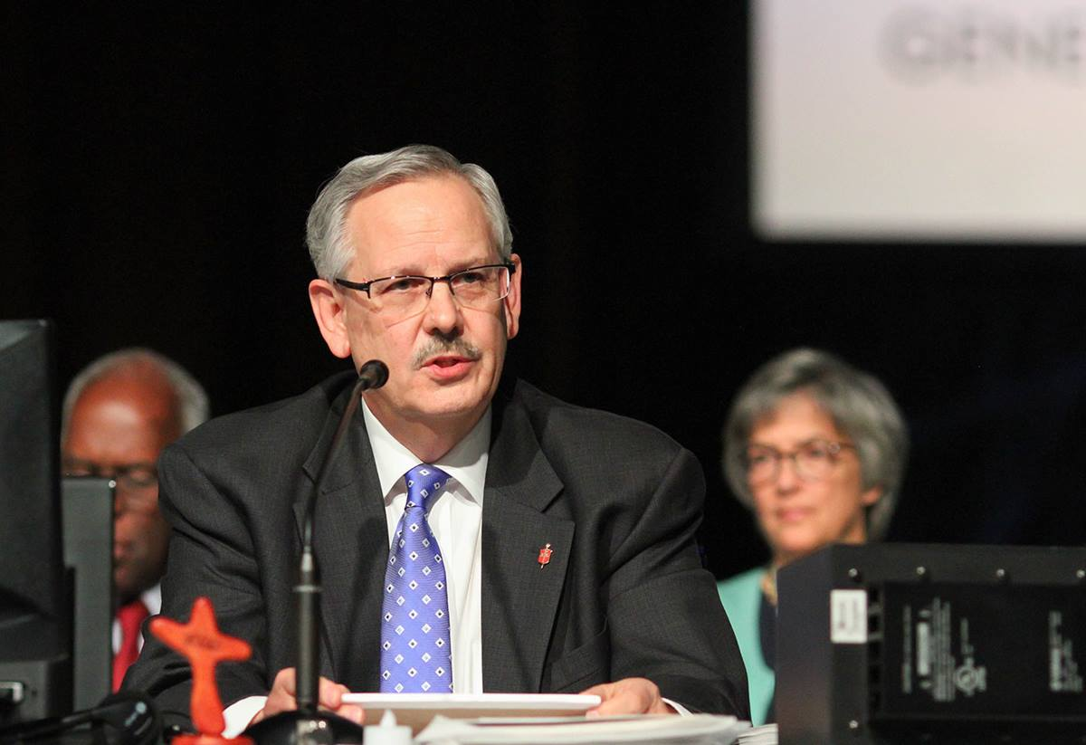 Bishop Bruce R. Ough, Dakotas-Minnesota Episcopal Area, presides over the May 19 afternoon session of the 2016 United Methodist General Church in Portland, Ore. Photo by Maile Bradfield, UMNS.