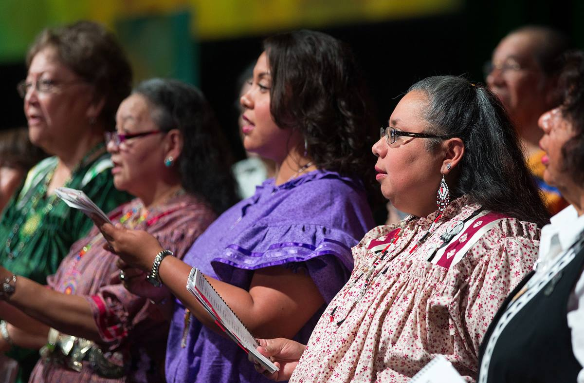 The Cherokee Choir from the Oklahoma Indian Missionary Conference sings during morning worship at the 2016 United Methodist General Conference in Portland, Ore. Photo by Mike DuBose, UMNS