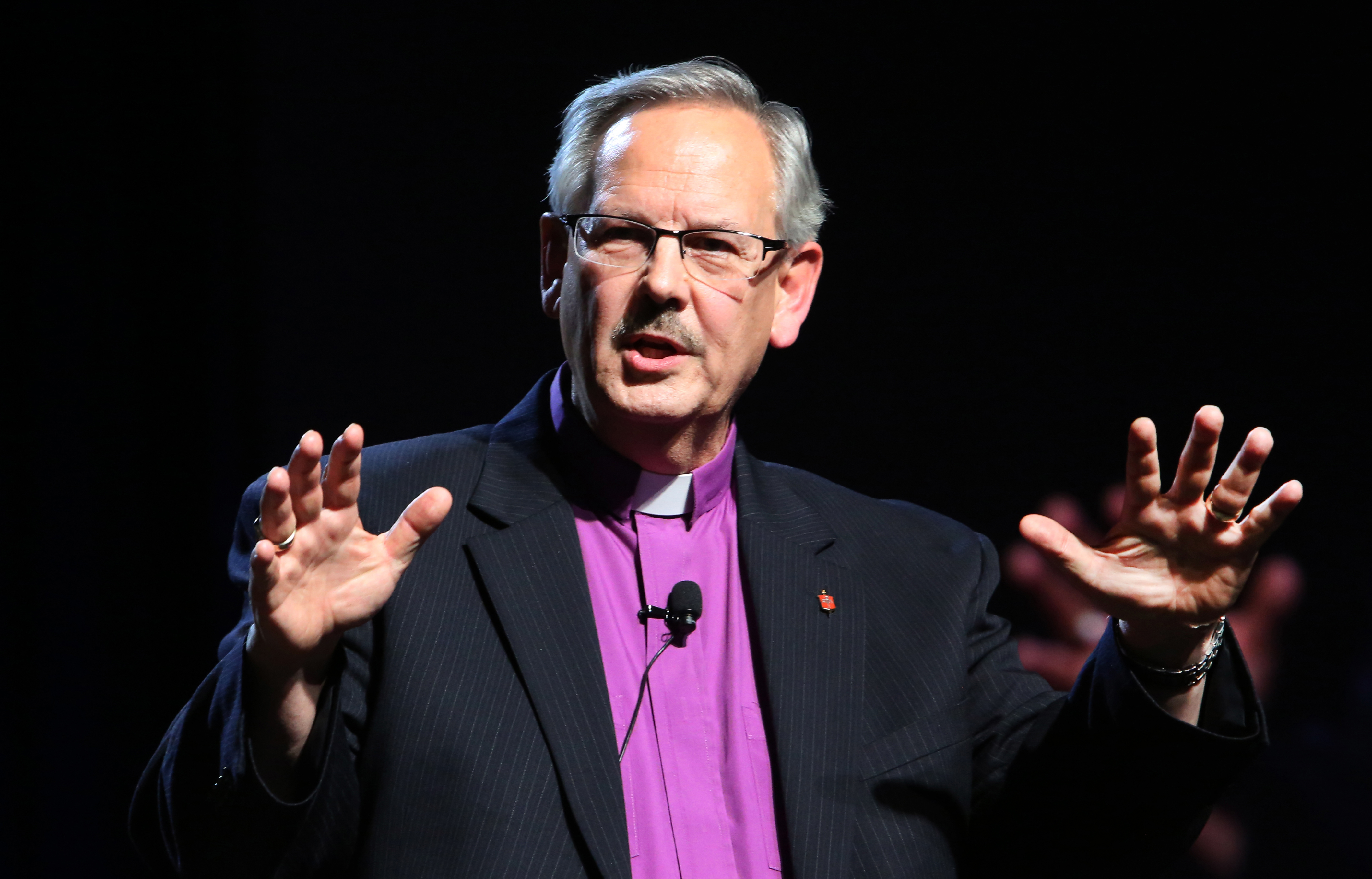 Bishop Bruce R. Ough, president of the United Methodist Council of Bishops, preaches May 20 at the close of the 2016 United Methodist General Conference in Portland, Ore. Photo by Kathleen Barry, UMNS