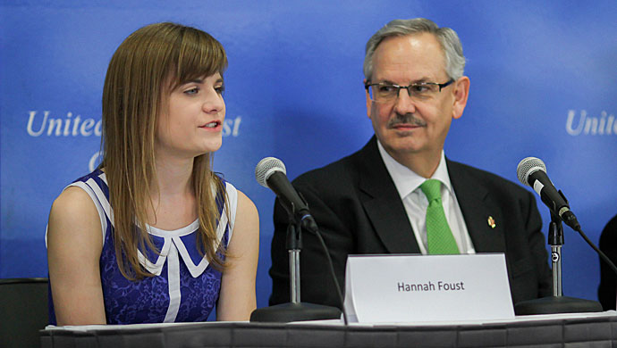 Hannah Foust, a 14-year-old from Carmel, Ind., shares her passion for providing safe, accessible water to communities in Africa at a press conference at the United Methodist 2016 General Conference in Portland, Ore. On her left is Dakotas-Minnesota Area Bishop Bruce R. Ough. Photo by Maile Bradfield, United Methodist Communications.