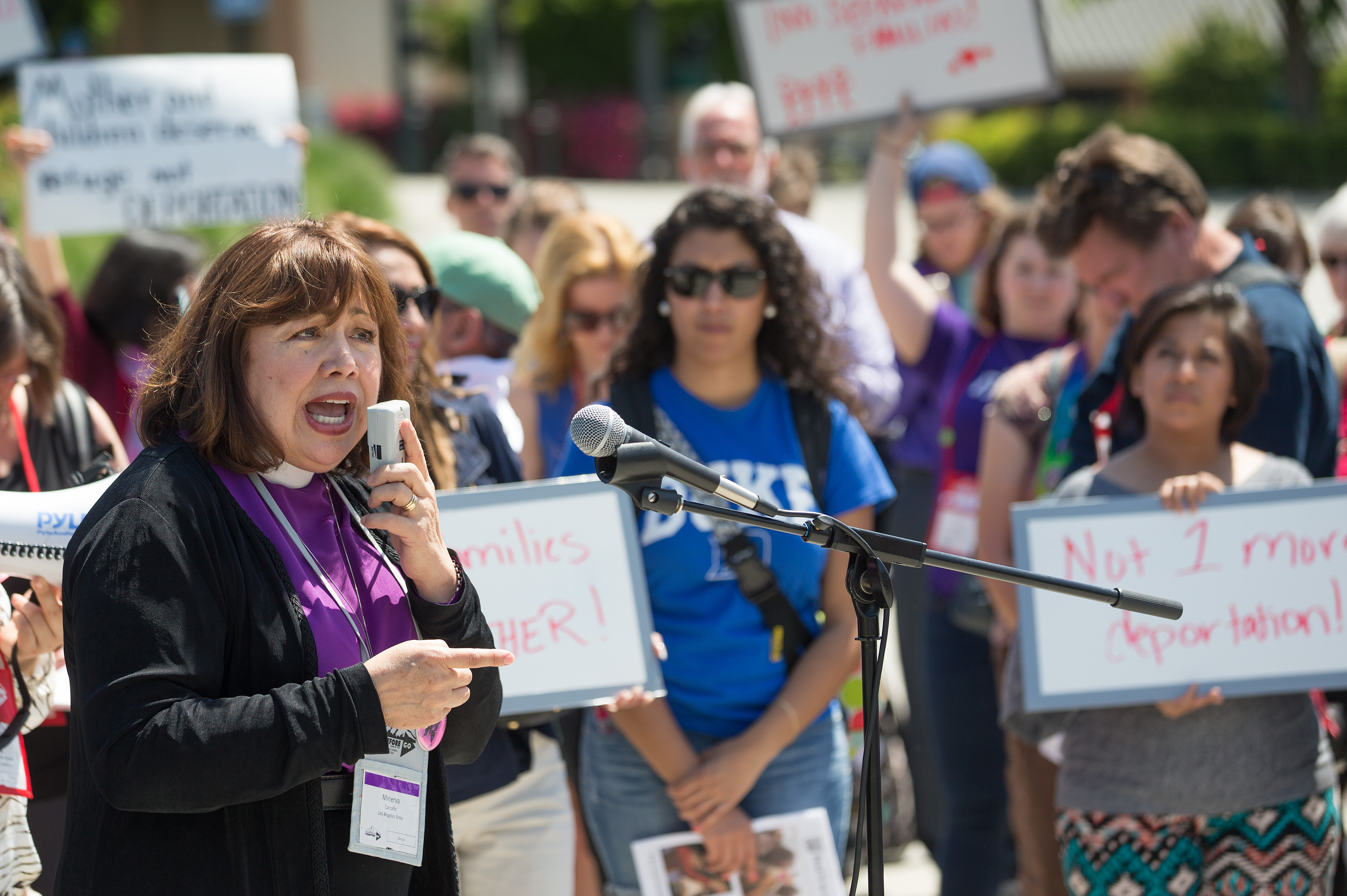 Bishop Minerva Carcaño addresses a rally of Methodists in support of immigration reform at the Convention Center Plaza outside the 2016 United Methodist General Conference in Portland, Ore. File photo by Mike DuBose, UMNS
