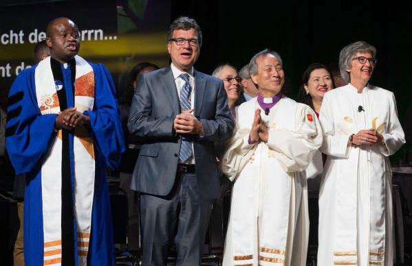 Thomas Kemper, second from left, top executive, United Methodist Global Ministries, was among the church leaders celebrating the commissioning of new missionaries May 19 at General Conference 2016 in Portland, Ore. He was in the Istanbul airport during the recent attack. Photo by Mike DuBose, United Methodist Communications.