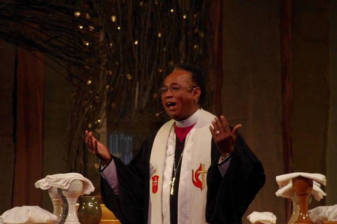 South Georgia Area Bishop James King preaches on unity during the July 13 opening worship service of the Southeastern Jurisdictional Conference in Lake Junaluska, N.C. Photo by the Rev. Burt Williams, Western North Carolina Conference.