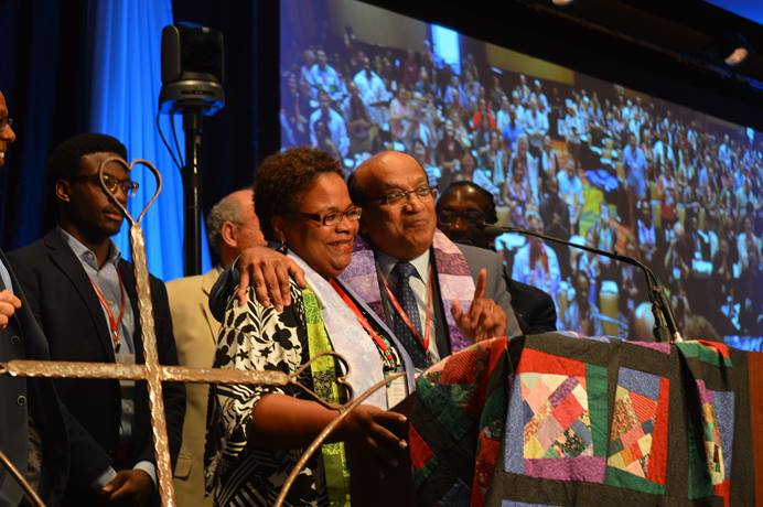 The Rev. LaTrelle Miller Easterling of the New England Conference stands with Bishop Sudarshana Devadhar after she was elected bishop by the Northeastern Jurisdictional Conference. Photo by Beth DiCocco, New England Conference.