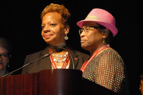 Bishop-elect Tracy Smith Malone, at left, addresses the North Cenrtral Jurisdiction after her election. Photo courtesy of the North Central Jurisdiction
