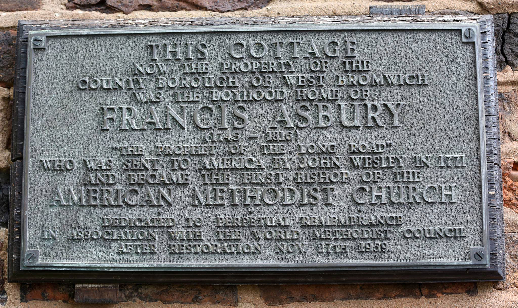 Plaque at Asbury's cottage.