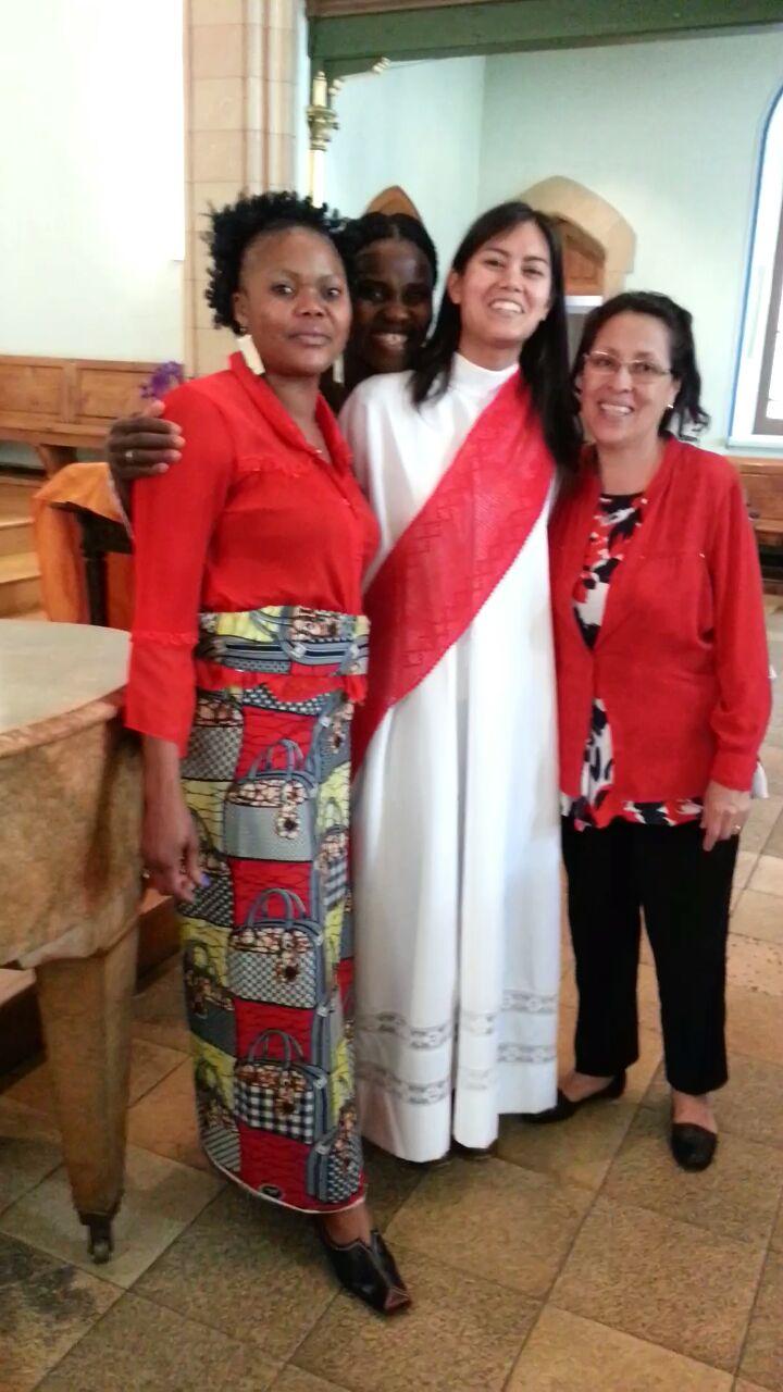 The women's singing group, the Rev. Erika Stalcup, center, prepare multilingual songs for Pentecost. Photo courtesy of the Rev. Erika Stalcup, Eglise Evangélique Méthodiste.