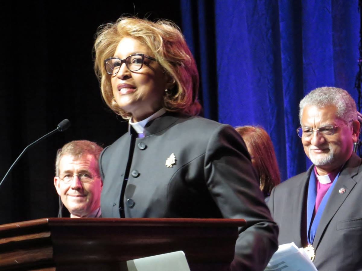 Bishop Vashti Murphy McKenzie of the African Methodist Episcopal Church offers greetings at the Aug. 31 opening worship service of the World United Methodist Conference. She stands with United Methodist Bishop Scott Jones and Bishop Ivan Abrahams, top executive of the World Methodist Council. Photo by Sam Hodges, UMNS