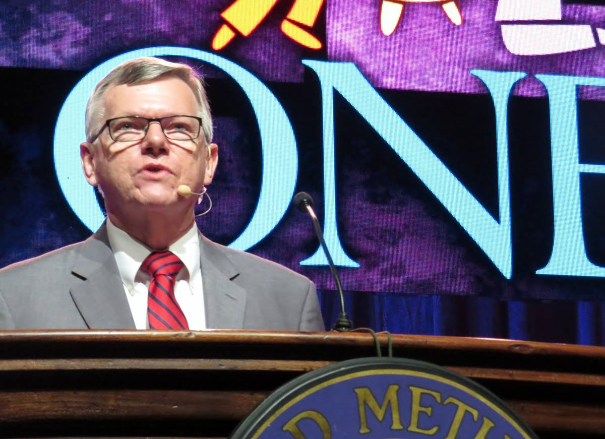 The Rev. Ted Campbell, a professor at Perkins School of Theology, speaking at the World Methodist Conference in Houston on Sept. 1. Photo by Sam Hodges, UMNS