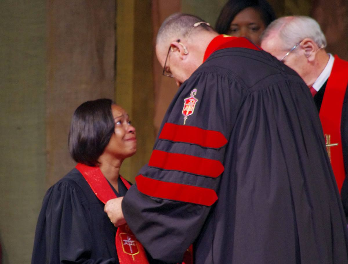 Bishop Sharma Lewis shares a moment with Bishop Lindsey Davis, her former bishop in North Georgia Conference, during her consecration on July 15 at Lake Junaluska Conference and Retreat Center at Lake Junaluska, N.C. Photo by Burt Williams, Western North Carolina Conference