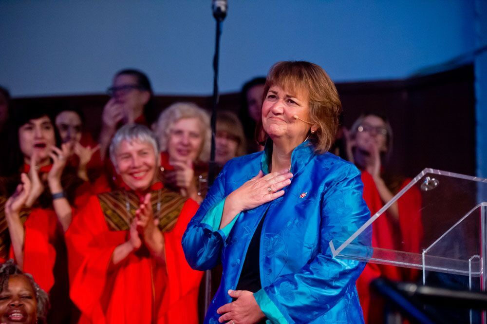 Bishop Karen Oliveto says goodbye to her Glide Memorial United Methodist Church family after eight years as their pastor on Aug. 14. She was elected bishop by the Western Jurisdiction in July and is appointed to the Mountain Sky Area. Photo by Alain McLaughlin Photography Inc.