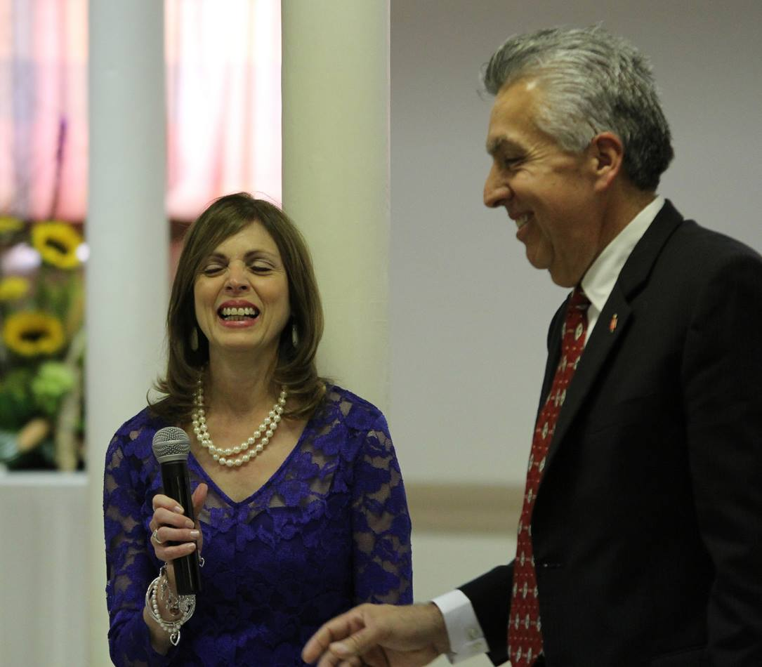 Bishop Ruben Saenz Jr. and his wife, Maye, enjoy a laugh as they speak to a Great Plains Conference breakfast in Wichita, Kan., on July 16.  Photo by Todd Seifert, Great Plains Conference