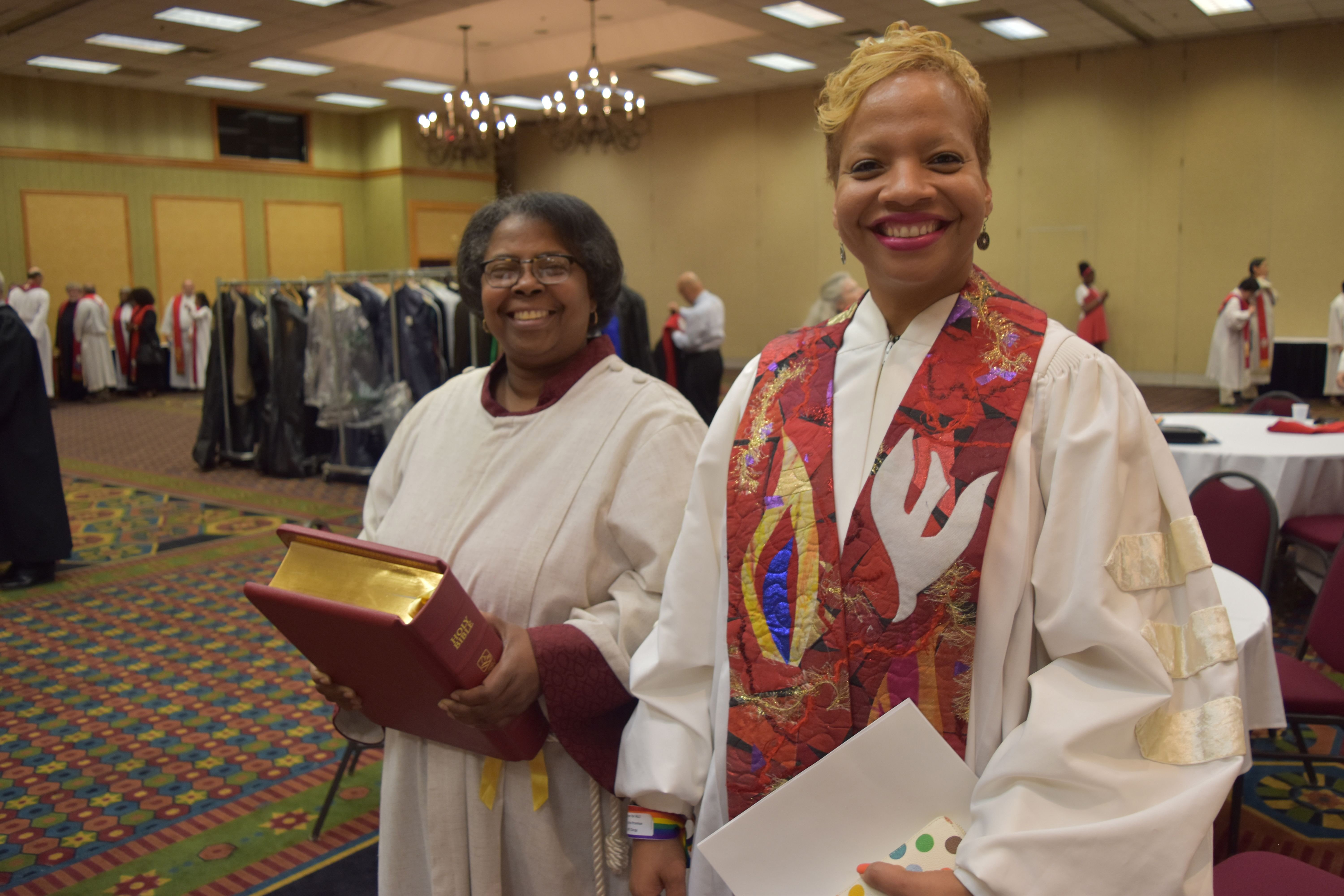 Bishop Tracy S. Malone (left) and the Rev. Darnearther Murph-Heath before the 2015 ordination service at the Northern Illinois Conference. Photo courtesy of the Northern Illinois Conference.