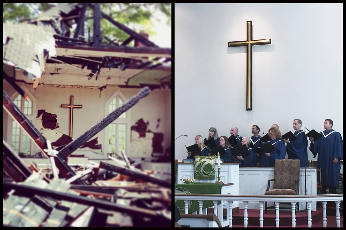 The sanctuary of Oconee Street United Methodist Church in Athens, Ga., shortly after the fire on April 15, 2013, (left) and back in use on Sept. 11, 2016. The cross survived. Photos courtesy of the Rev. Lisa Caine and Heather Hahn