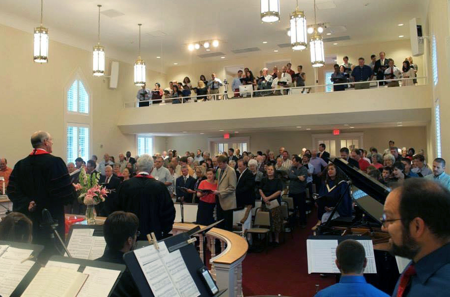 A capacity crowd packed into the rebuilt sanctuary of Oconee Street United Methodist in Athens, Ga., for its dedication service on Aug. 30, 2015. Bishop Mike Watson, who led the North Georgia Conference at the time, preached at the service. Photo courtesy of the Rev. Lisa Caine