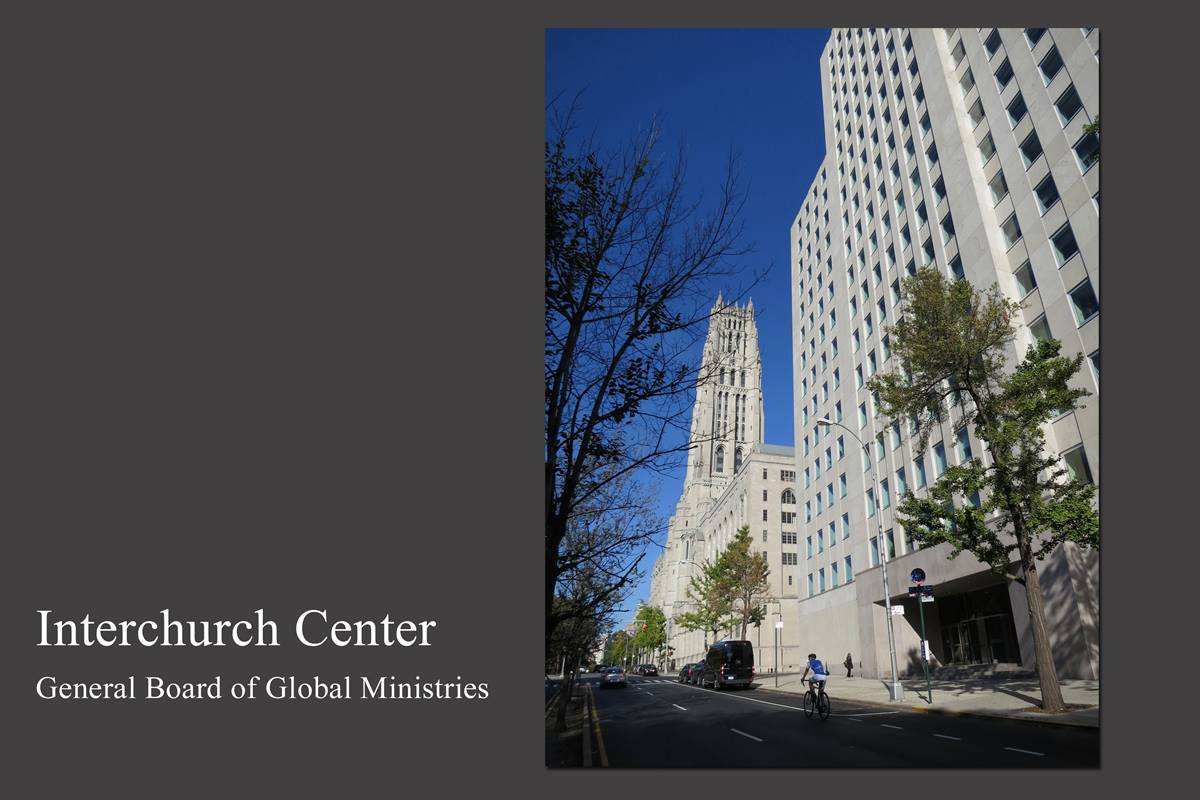 The Interchurch Center, just south of Riverside Church in New York, has been home to the United Methodist Board of Global Ministries since 1959. The mission agency will complete the relocation of its U.S. headquarters to Atlanta by Nov. 1. 2014 file photo by Linda Bloom, UMNS.