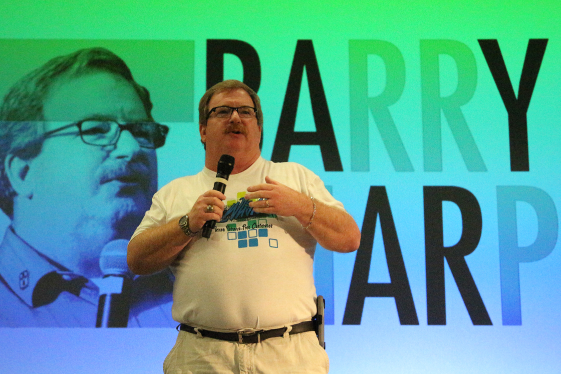The Rev. Barry Sharp, manager of the Tobacco Prevention and Control Branch in Texas, speaks at a recent SayWhat! (Students, Adults and Youth Working Hard Against Tobacco) youth conference. Photo courtesy of Sharp