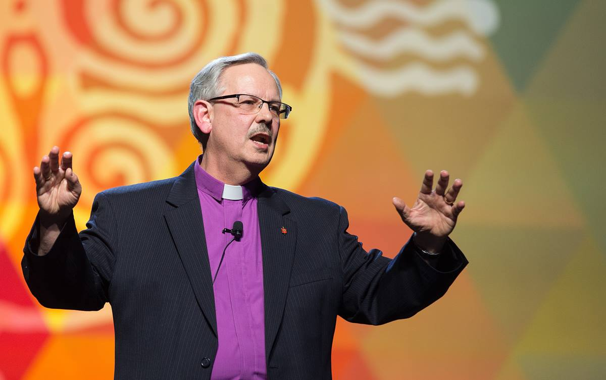 Bishop Bruce R. Ough gives the message during closing worship at the 2016 United Methodist General Conference in Portland, Ore. Delegates had earlier voted that the bishops should appoint a commission to look at church teachings on homosexuality. Photo by Mike DuBose, UMNS.