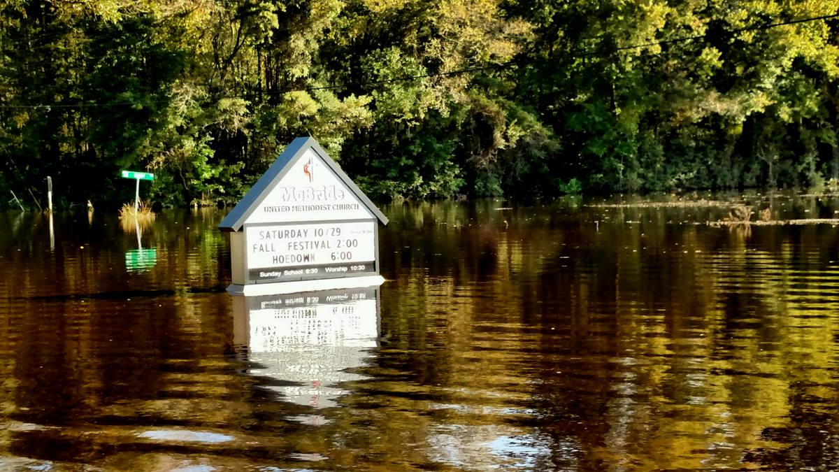 McBride United Methodist Church, South Mills, North Carolina, had eight to 10 inches of flood water in the fellowship hall after Hurricane Matthew. The ground was already saturated from September floods.
