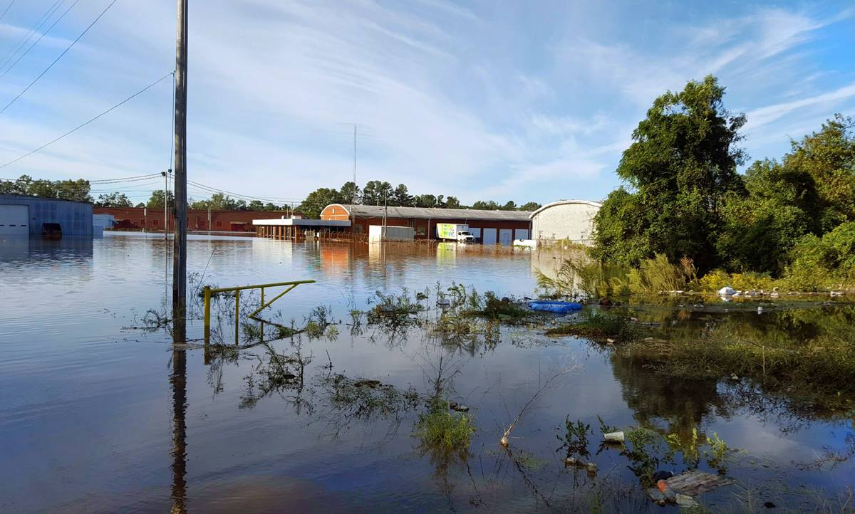 Water stands around the Robeson Church Community Center in Lumberton, N.C., after Hurricane Matthew hit the U.S. East Coast, Oct. 7-8. The Center provides services such as housing and a food pantry.