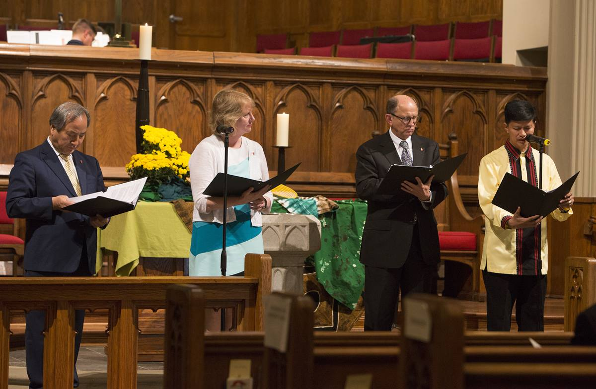 (From left) Bishops Hee-Soo Jung, Sue Haubert-Johnson, R. Lawson Bryan and Pedro Torio dedicate The United Methodist Church Global Mission Center in Atlanta on Oct. 20, 2016.