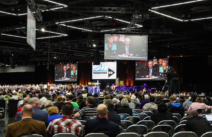 Delegates and visitors listen to debate about petitions at the 2016 United Methodist General Conference in Portland, Ore. Photo by Maile Bradfield, UMNS