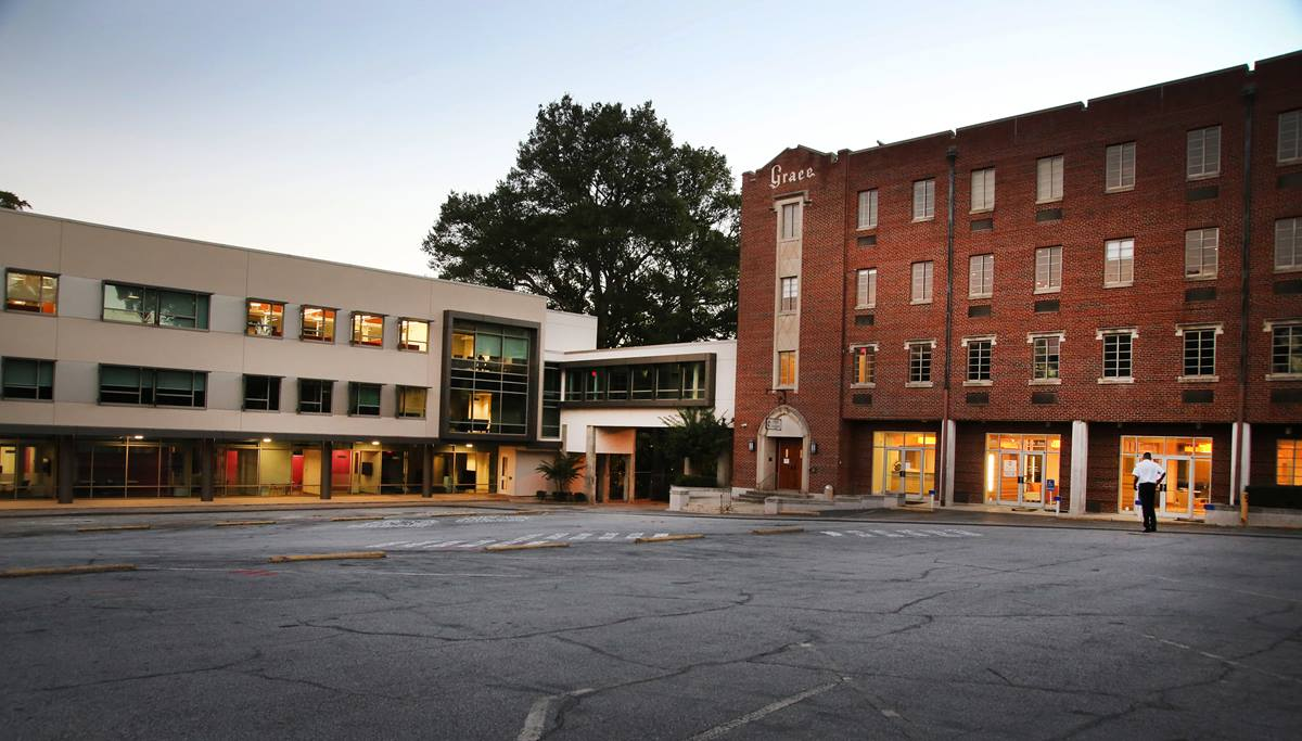 The new headquarters of the United Methodist Board of Global Ministries in Atlanta connects Grace United Methodist church and it's auxiliary building with a new wing.