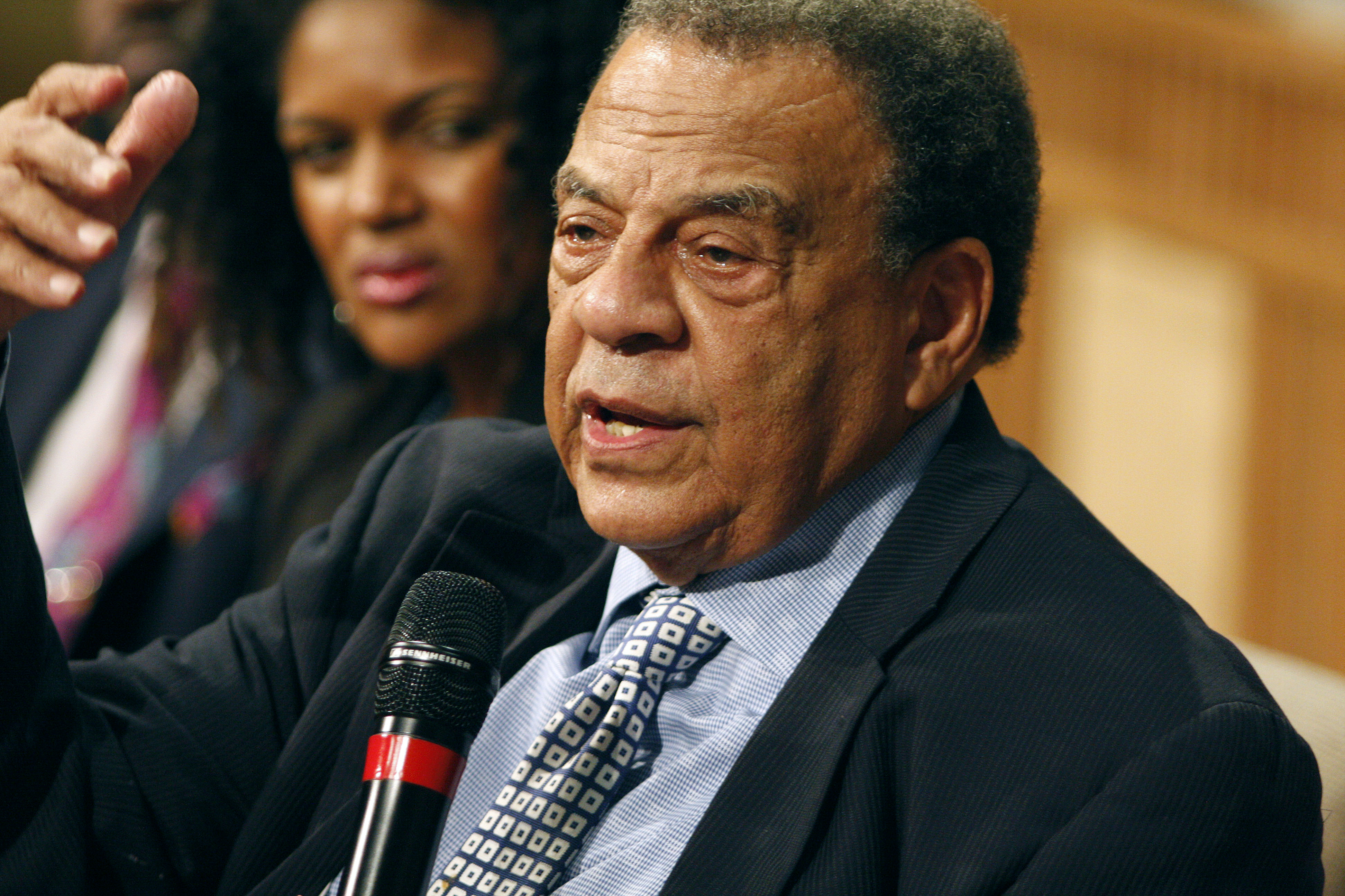 Civil rights leader Andrew Young gives the closing remarks during the national Prison Summit on Mass Incarceration sponsored by the United Methodist Strengthening the Black Church for the 21st Century at Concord Church of Dallas. Young has served as a member of Congress, mayor of Atlanta and U.S. ambassador to the United Nations. Photo by Kathy L. Gilbert, UMNS.