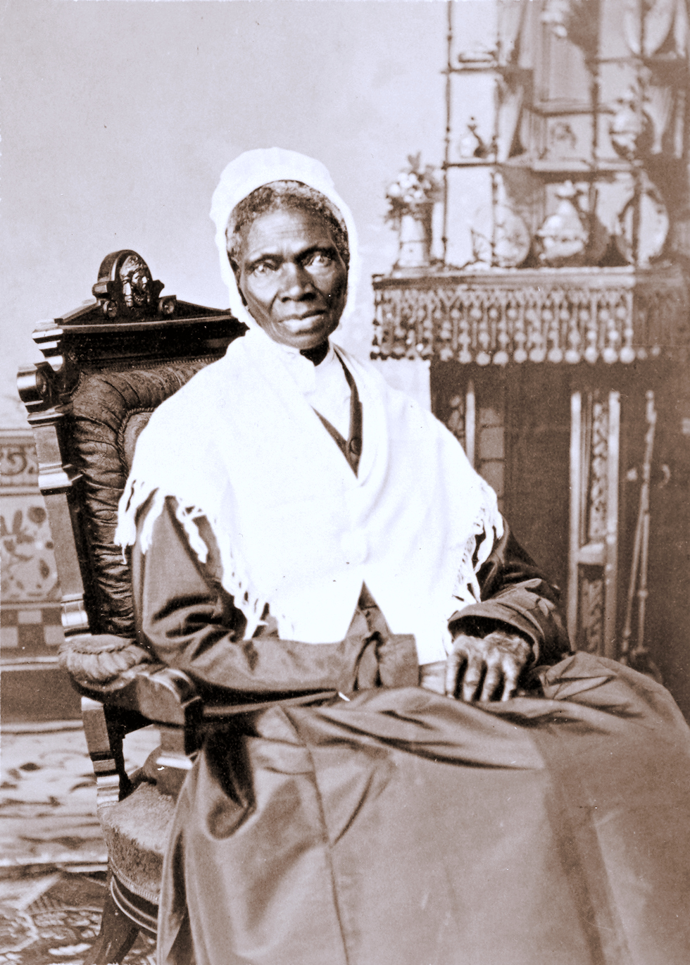 Born into slavery, Sojourner Truth became an itinerant Methodist preacher and advocated for freedom for the slave, justice for the poor and equality for women. Portrait of Sojourner Truth from the National Portrait Gallery, Smithsonian Institution, courtesy of Wikimedia Commons.