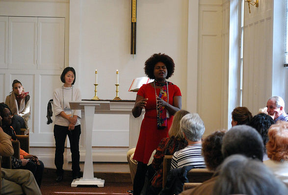 A worship service at The United Methodist Building on Capitol Hill in Washington was part of the Nov. 14-16 Faith and Guns Forum, sponsored by the United Methodist Board of Church and Society. The Rev. Pamela James, pastor of Christ United Methodist Church in Paterson, N.J., was among those sharing about the impact of gun violence. Photo courtesy Church and Society.