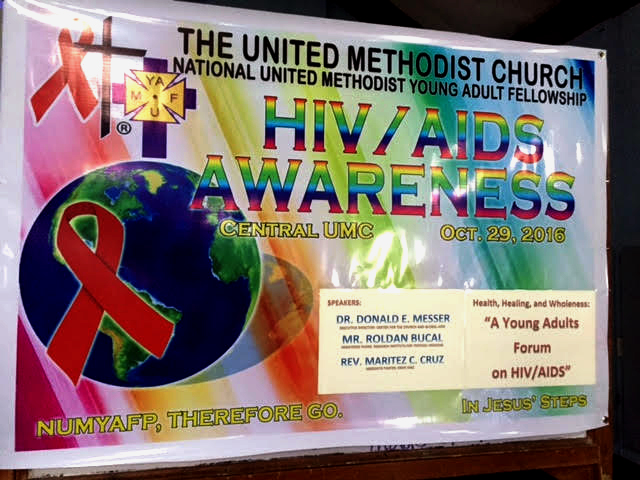 A banner for an HIV/AIDS forum to promote awareness of deadly disease, sponsored by The United Methodist Church. More than 160 clergy and laity members from Middle Philippines and South Nueva Ecija Philippines attended the event. Photo by Gladys P. Mangiduyos, UMNS.