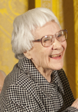 Photo of Harper Lee taken while receiving the Presidential Medal of Freedom in 2007. White House photo by Eric Draper