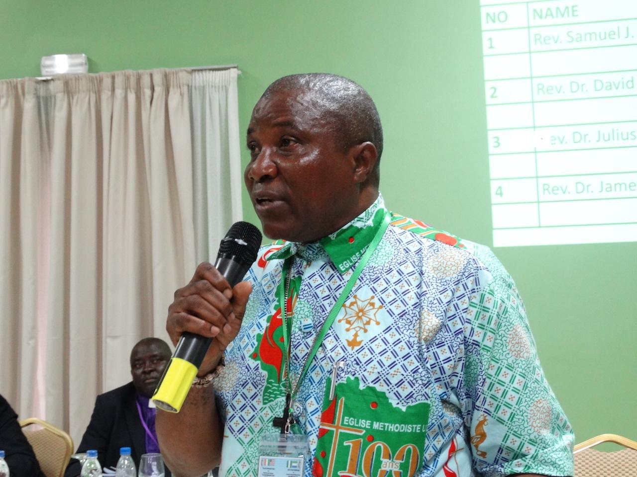 Bishop-elect Samuel J. Quire addresses West Africa Central Conference delegates after his election. Photo by Julu Swen, UMNS