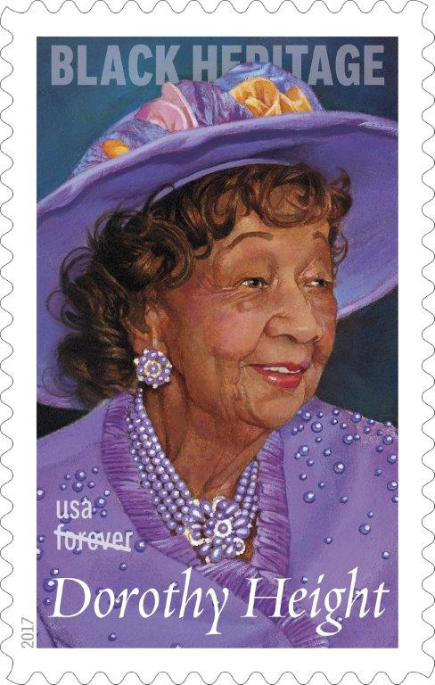"A commemorative ""forever"" stamp honoring Dorothy Height goes on sale Feb. 1, 2017. Image courtesy of the U. S. Postal Service."