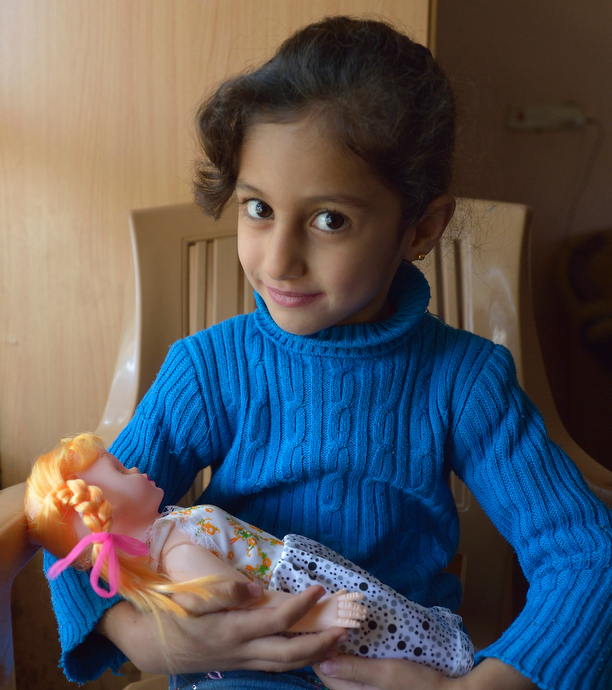 Rahaf Saeed, 6, a Yazidi girl displaced in 2014 by the Islamic State group, today lives with her family in the village of Kora, outside Duhok in the northern Iraqi region of Kurdistan. Photo © Paul Jeffrey.