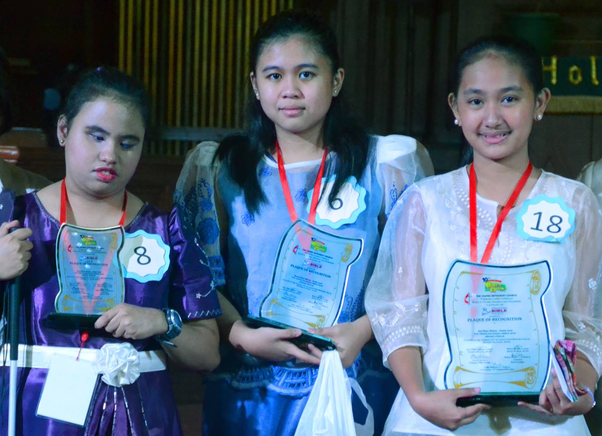 Senior division winners of the 10th National Bible Quiz in Manilla, Philippines, were Faith Eunice Rubante (left), Central Luzon Philippines Conference, third place; Angela Joy Balod, Northern Philippines Conference, second place; and Niomi Nicole Salitico, Bulacan Philippines Conference, first place. The Grand Finals were held at Central United Methodist Church on Jan. 21, 2017. Photo courtesy of Jeremiah and Melvin Nor Ramos.
