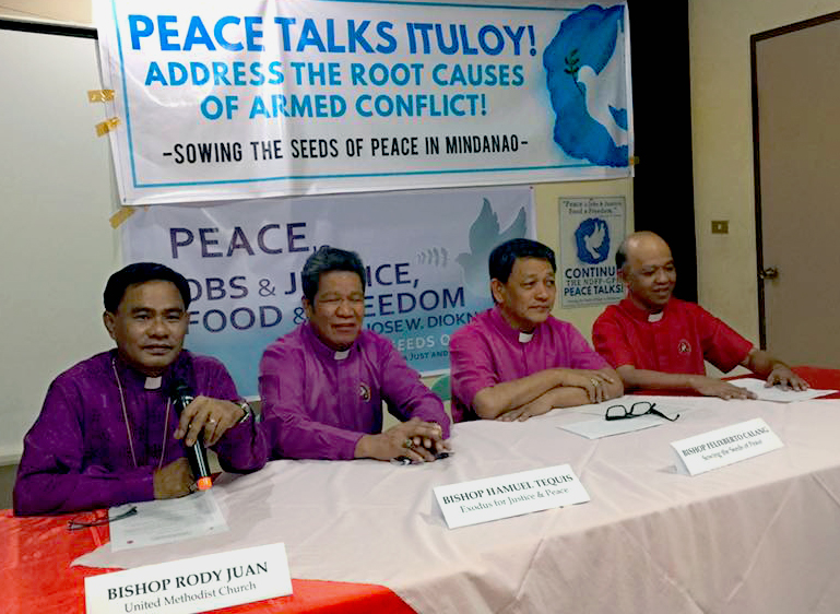 United Methodist Bishop Rodolfo Juan, left, joined other ecumenical members of the National Council of Churches in the Philippines for a Feb. 24 press conference calling for an end to violence and a continuation of peace talks. Photo Courtesy of. the Rev Israel Painit.