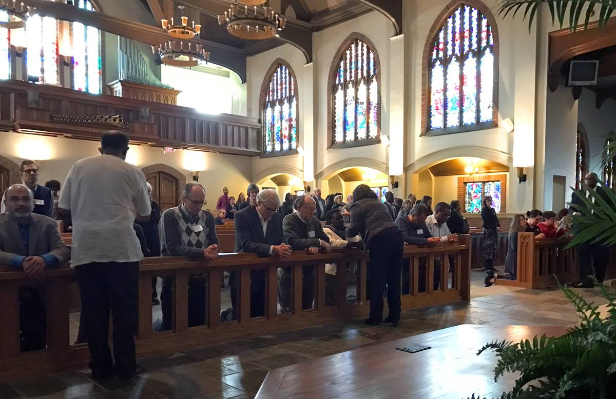 Members of the Commission on a Way Forward worshipped with staff of the United Methodist Board of Global Ministries at their Ash Wednesday service, March 1, at Grace United Methodist Church in Atlanta. Photo by Diane Degnan, United Methodist Communications.