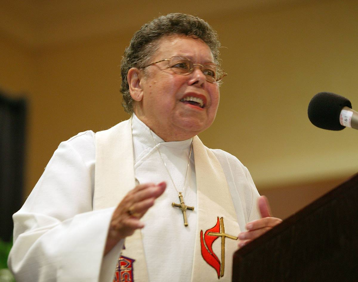 United Methodist Bishop Leontine T.C. Kelly preaches during the first reunion of the former Central Jurisdiction of the Methodist Church, a racially segregated church structure, in College Park, Ga., in 2004. Kelly, who died in 2012, was elected in 1984 as the denomination's first African-American woman bishop. File photo by Mike DuBose, UMNS.