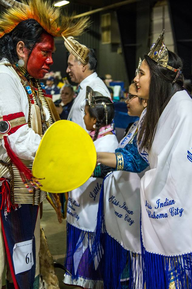 Madeleine Freeman, 2016 Miss Indian Oklahoma City Princess, greets family and friends following a dance honoring her work as the reigning princess. Photo by Ginny Underwood, UMNS.