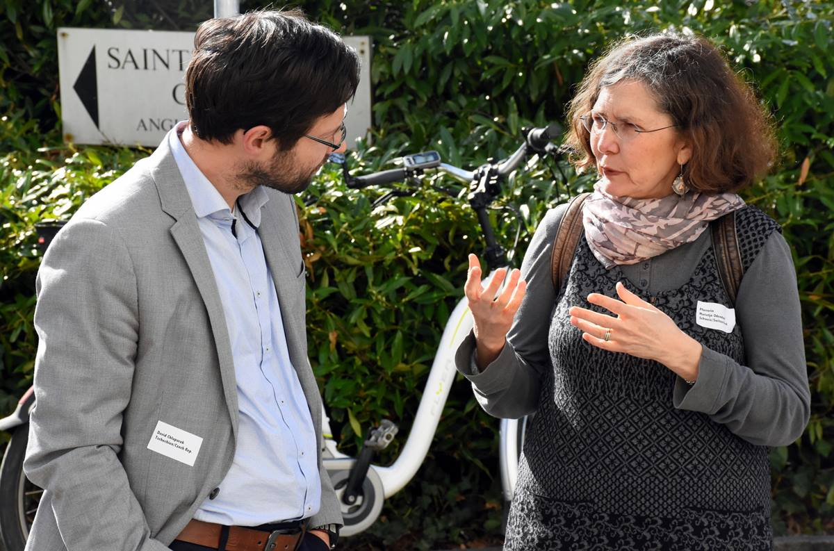 David Chlupacek, left, from the Czech Republic, speaks with the Rev. Marietjie Odendaal, from Switzerland, during the 2017 Central Conference of Central and Southern Europe. The quadrennial gathering drew 110 people to Zurich from more than 20 countries in Europe, North America and North Africa. Photo by Üllas Tankler, Global Ministries.