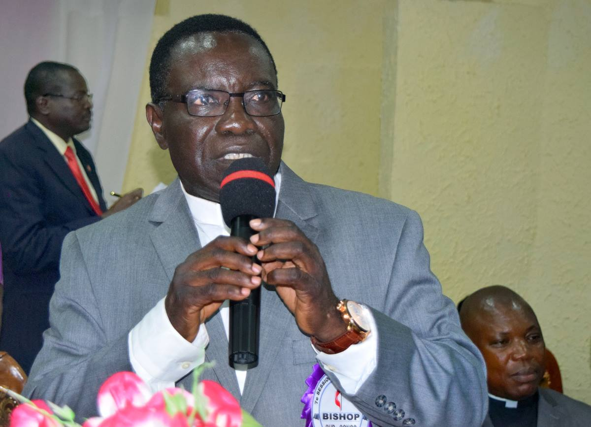 The Rev. Kasap Owan, president of the Katanga Methodist University in Mulungushi, is elected a United Methodist bishop by delegates at the Congo Central Conference meeting in Kamina, Democratic Republic of Congo. Owan, 62, was elected March 18 during the quadrennial meeting. Photo by Eveline Chikwanah, UMNS.