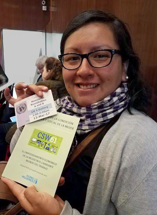 Annie Solis, Methodist Church in Peru, was part of a World Student Christian federation delegation to the 2017 U.N. Commission on the Status of Women. Photo by Melanie Yong.