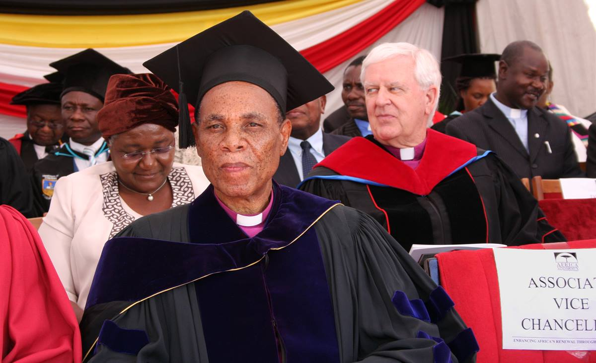 Bishop Eben Nhiwatiwa, center, sits with other attendees at the vice chancellor's inauguration at Africa University in Mutare, Zimbabwe, on March 21, 2015. Photo by Vicki Brown, UMNS.
