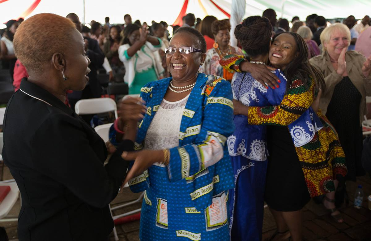Supporters of Africa University celebrate at the close of Sunday worship during the 25th anniversary celebration for Africa University in Mutare, Zimbabwe. Photo by Mike DuBose, UMNS.