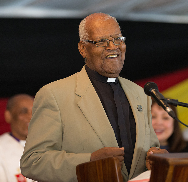 The Rev. John Kurewa helps lead Sunday worship during the 25th anniversary celebration for Africa University in Mutare, Zimbabwe. Kurewa was the United Methodist institution's founding vice chancellor. Photo by Mike DuBose, UMNS.