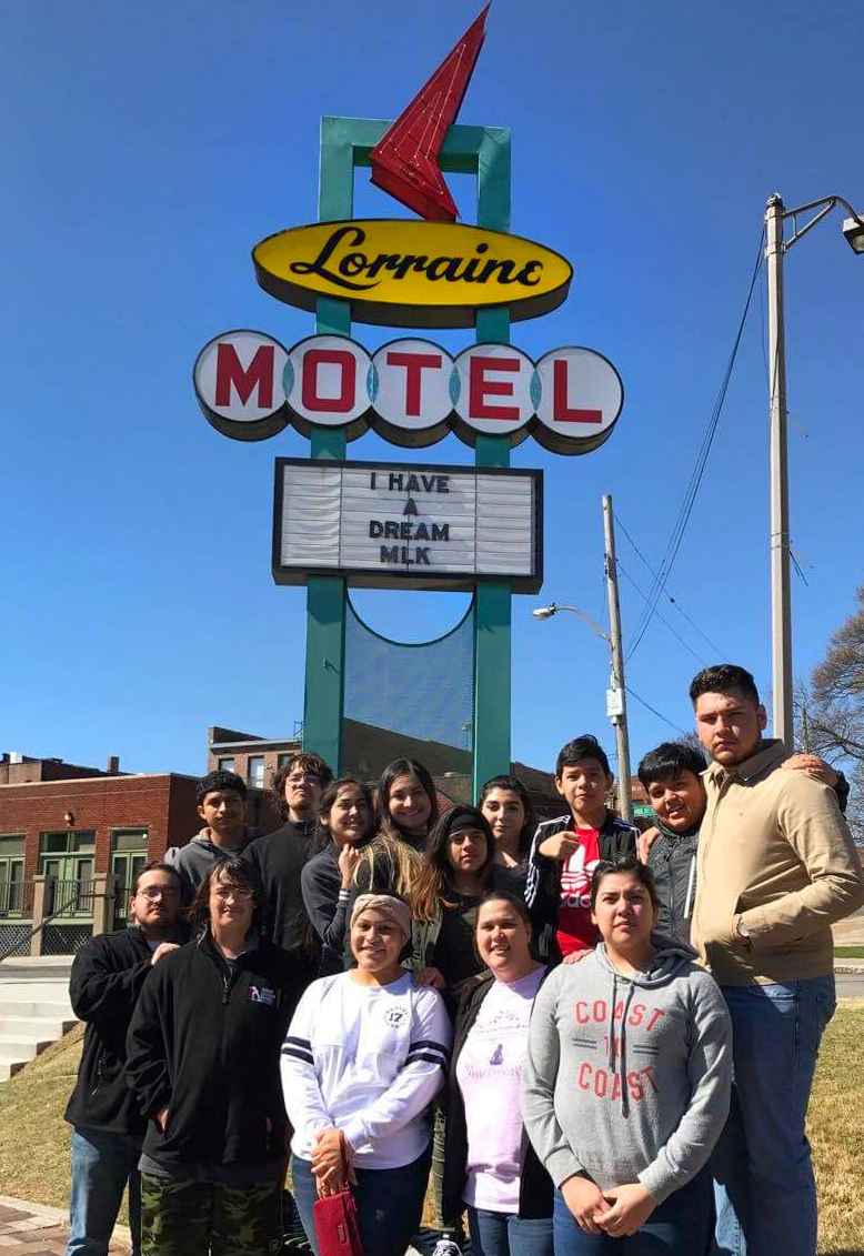 Hispanic youth from the Dallas area visit the National Civil Rights Museum at the Lorraine Motel, in Memphis, Tennessee. A grant from the United Methodist Church's National Plan for Hispanic/Latino Ministry funded the group's civil rights tour of the South. The Rev. Martin Luther King Jr., was killed at the Lorraine Motel on April 4, 1968. Photo by Martha Valencia.
