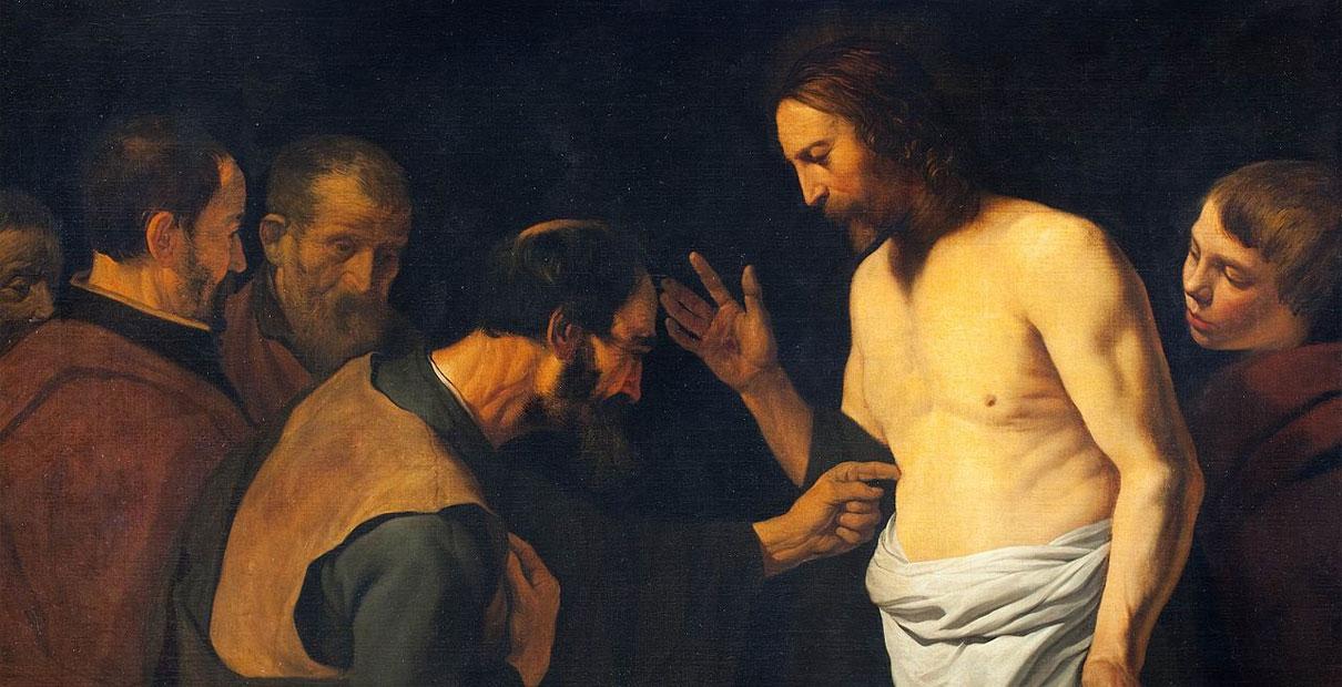 """Oil painting """"The Doubting Thomas"""" by Leendert van der Cooghen (1632-1681)."""